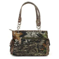 Brown Mossy Oak Camouflage Handbag with Rhinestone Cross : Camouflage Purses