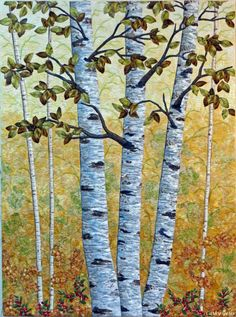 Golden Birches by Cathy Geier. Raw edge applique trees and branches - landscape quilt.