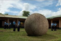 UNESCO World Heritage | Costa Rica | Stone spheres.    The stone ball is actually a relic of pre-Columbian times with origins that remain a mystery. 300 others were uncovered in Costa Rica's southern Pacific region. Spheres range from the size of a bowling ball to 15-ton boulders. Their precision is stunning:  actually the work of meticulous indigenous craftsmen, who chiseled, pecked and ground granodiorite — a hard igneous stone similar to granite.