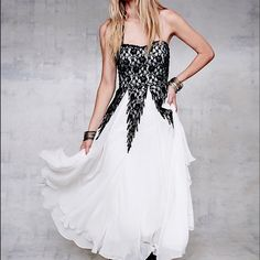 Free People Freda Ballgown Dress Floral lace sweetheart bodice with drippy lace panels with an optional grosgrain ribbon halter tie. Tea length chiffon skirt. Hidden side zipper. Lined, trim is cotton/ nylon. 100% poly Free People Dresses Strapless
