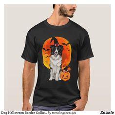 Dog Halloween Border Collie Jack O Lantern Pumpkin T-Shirt