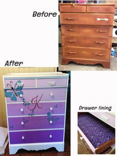 """Here is the before & after of a resale shop buy I painted for my granddaughter.  Her favorite color is any purple, she loves butterflies, and her name begins with a K.  This was the first time I have ever stenciled.  The whole process was a blast to do.  The crowning effect was a sheet of 1/4"""" plate glass with the front edge beveled.  I covered the bottom of all 6 drawers with purple fabric."""