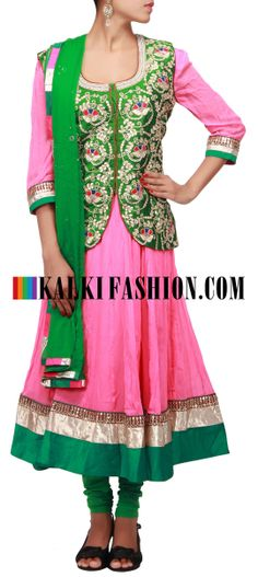 Buy Online from the link below. We ship worldwide (Free Shipping over US$100)  http://www.kalkifashion.com/pink-anarkali-suit-matched-with-green-embroidered-jacket-only-on-kalki.html Pink anarkali suit matched with green embroidered jacket only on Kalki