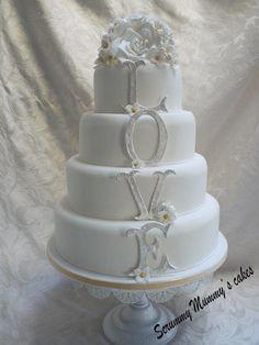 4 Tier Monogram 'LOVE' Wedding Cake