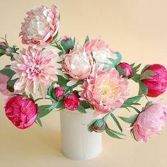 It's peony season... #paperflowers #centerpiece #peonies  #papercraft #crepepaperflowers #handmadeflowers