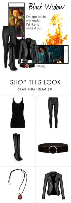 """""""Black Widow from """"The Avengers"""""""" by le-piano-argent ❤ liked on Polyvore featuring T By Alexander Wang, Helmut Lang, Jimmy Choo and Marvel"""