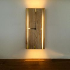 Kiven Wooden Simple Wall Decor Original Design Rectangle Wall Clock Bedside Wall Lamp With Button Switch Line Warm Yellow Light 50 Uniquely Modern Wall Sconces That Also Serve As Decorative Pieces Wood Clocks, Wood Lamps, Wooden Wall Lights, Wood Lights, Wall Wood, Table Lamps, Rectangle Wall Clock, Wall Clock Design, Creation Deco