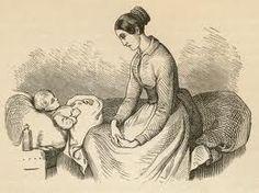 """""""Der sad en moder hos sit lille barn, hun var så bedrøvet,så bange for at det skulle dø.""""  Moderen er meget omsorgsfuld og bekymret."""