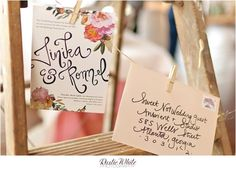 floral collage wedding invitation suite via miss wyolene on etsy