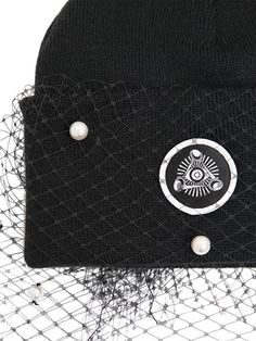 SILVER SPOON ATTIRE - BEANIE HAT WITH VEIL & BOW - LUISAVIAROMA - LUXURY SHOPPING WORLDWIDE SHIPPING - FLORENCE