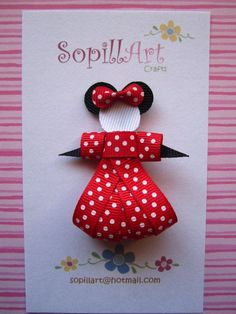 Minnie Mouse hair clip bow ribbon sculpture inspired.:
