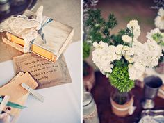 vintage books tied with ribbon and lace place mason jar with field flowers on top K.E.