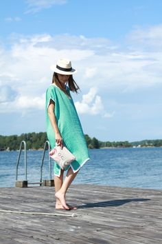 Rae Feather Jaquard Double Linen Kaftan, La Portegna Panama Hat, My Bags and Me My Things Wetbag.jpg