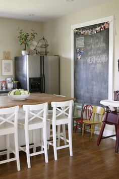 How to Make a Giant Magnetic Chalkboard ~ to replace the current start board. We can even make notes on it!