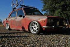 Rusty's smaller, older Japanese sister . Datsun 510, Japanese Sister, White Truck, Rusty Cars, Ride Or Die, Jdm Cars, Rat Rods, Rats, Cars Motorcycles
