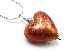 Murano Glass Heart Pendant - Copper Murano Glass, Gold Leaf, Sterling Silver Necklaces, Copper, Pendant Necklace, Chain, Heart, Handmade, Beautiful