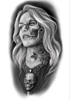 Woman skull tattoo ideia black and grey Face Tattoos For Women, Girls With Sleeve Tattoos, Tattoos For Guys, Girl Face Tattoo, Girl Face Drawing, Lion Head Tattoos, Body Art Tattoos, Portrait Tattoos, Skull Tattoos