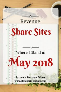Revenue share sites can be good if you get the right ones. During May I'll focus on finding the best and putting your best samples forward for them. For now, I'm focusing on where I am with them and where I don't recommend.