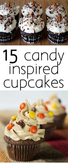 Satisfy your sweet tooth with these candy inspired cupcakes! From Almond Joy to Nerds - there's something for the kid in all of us in this collection.