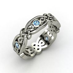 Sterling Silver Ring with Blue Topaz | Brilliant Alhambra Band | Gemvara
