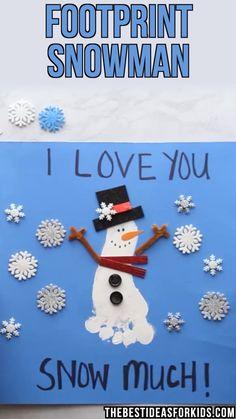 Snowman Footprint Snowman - so cute! Such an easy and fun Winter craft for kids.Footprint Snowman - so cute! Such an easy and fun Winter craft for kids. Kids Crafts, Daycare Crafts, Winter Crafts For Kids, Winter Kids, Baby Crafts, Creative Crafts, Craft Projects, Kids Diy, Craft Ideas