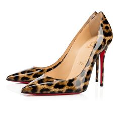 """""""Decollete 554"""" stands out for its long pointed toe and superfine stiletto heel. Whether you're dashing to a daytime meeting or an evening date, this 100mm version in chic leopard print patent leather is a strong and sexy pump for the woman on the move."""