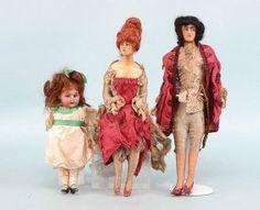 German Bisque Doll & A Pair Of Wax Boudoir Dolls