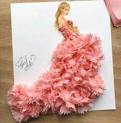 Tissue art dress fashion sketch by Edgar Artis.  #pink