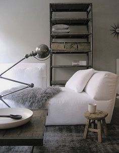 Industrial style #living room #interior with white, slipcovered #soa