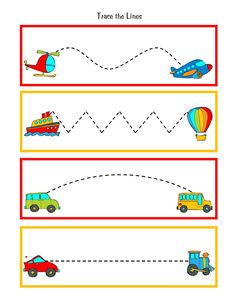 Great to practice pre-writing skills during transportation week. Put this in your handwriting center to reinforce the theme. Preschool Writing, Preschool Themes, Preschool Printables, Preschool Worksheets, Preschool Learning, In Kindergarten, Preschool Activities, Shapes Worksheets, Teaching