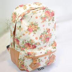 Flowers Printed Canvas Backpack
