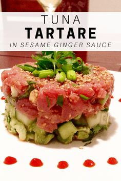 Serve up this Tuna Tartare in a Sesame Ginger Sauce as an appetizer or entree! It& so easy and delicious! Seafood Appetizers Seafood Appetizers Appetizers Appetizers for a crowd Appetizers parties Fresh Tuna Recipes, Sushi Recipes, Asian Recipes, Cooking Recipes, Healthy Recipes, Fish Dishes, Seafood Dishes, Seafood Recipes, Appetizer Recipes