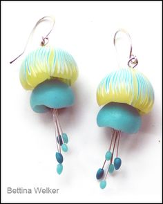 Polymer Clay Jellyfish Earrings by Bettina Welker