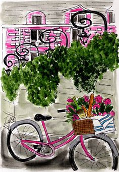 Pink Parisian Architecture and bicycle full of baguettes...a cartoon dreamland! :D
