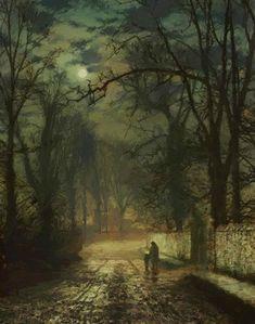 John Atkinson Grimshaw, A Moonlit Lane Canvas Box Art or Print ++ - Kunstfotografie Nocturne, Atkinson Grimshaw, Art Amour, Wow Art, Fine Art, Oeuvre D'art, Les Oeuvres, Moonlight, Amazing Art