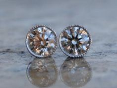 Bezel diamond studs with milgrain. If I ever decide to buy OECs for earrings, this is how I will have them set.