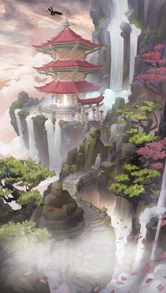 Concept Art Landscape, Fantasy Art Landscapes, Fantasy Concept Art, Fantasy Artwork, Landscape Art, Space Fantasy, Disney Concept Art, Fantasy City, Fantasy Places