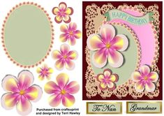 - This card can be for any lady, but it does have to labels for To Nan, and Grandmar. and it does say Happy Birthday on the. Birthday Cards, Happy Birthday, 3 D, Decoupage, Card Making, Greeting Cards, Make It Yourself, Frame, How To Make