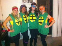 Ninja turtles!! Cute & comfy homemade Halloween costume. ((cheap too!!)) Cut off hoodie, leggings & boots....definitely the most comfortable costume I've worn!!