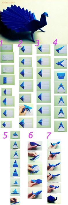 The origami tutorials to make Peacock.We can make one when are free or have low . - The origami tutorials to make Peacock.We can make one when are free or have low moon,it help us to improve our bad moon. Instruções Origami, Origami And Kirigami, Origami Butterfly, Paper Crafts Origami, Diy Paper, Paper Crafting, Origami Ideas, Origami Hearts, Dollar Origami
