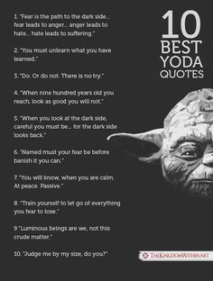 Grand Jedi Master Yoda Quotes will inspire you to reach your full potential. Let discover The Greatest Quotes of Wisdom From Yoda now! Yoda Quotes Funny, Movie Quotes, Wisdom Quotes, Life Quotes, Ip Man Quotes, War Quotes, Fear Leads To Anger, Jolie Phrase, Most Famous Quotes
