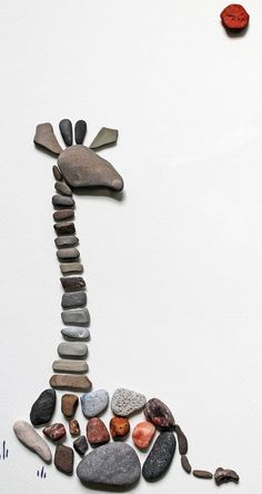 Resting Giraffe Pebble Art 11.5 x 17.5 Wall Art