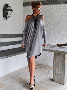 Light Gray Asymmetric Dress  Blouse  Tunic / von SynthiaCouture