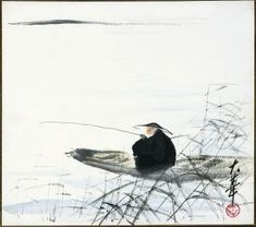 """This is the traditional theme of Chinese literati painting, mostly based on Liu Zongyuan's """"Jiang Xue"""" poetic. This painting strongly rendering the snow, the tent and the fishing gear too fine portrayed and the performance of fishermen focus on fishing demeanor, to see fishing, and not like fishing, quiet and self degree."""