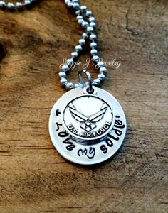 I Love My Soldier Necklace with Air Force Charm, Hand Stamped Air Force Necklace, Military Spouse Necklace, Military, Military Deployment by JazzieJsJewelry on Etsy