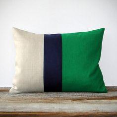 Emerald Color Block Pillow / dotandbo.com