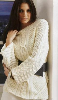 Women's Cable Knit Boatneck Sweater 34C