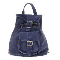Suede Leather Backpack, Handmade in Greece, Colors Blue, Burgundy, Black