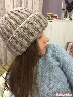 На шапочку набрала 50 петель, вязала английской резинкой, примеряя до нужной высоты, потом начала убавления, в лицевом ряду, три вместе (1л с н, 1 изн, 1л с н ), три петли по рисунку, изнаночный ряд Cable Knitting, Knitting Yarn, Knitting Patterns, Crochet Patterns, Crochet Beanie, Knitted Hats, Diy Crochet, Crochet Baby, Kids Winter Fashion