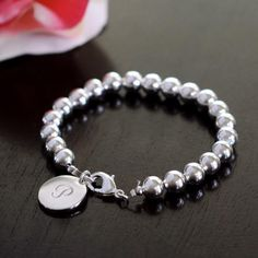 Personalized Silver Bead Bracelet - great gift to the bride from the groom